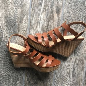 Sole Society Brown Strappy Stacked Heels